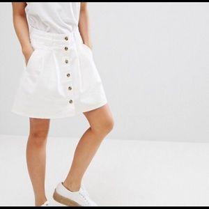 ASOS PETITE White Denim Button Skater Skirt / US 2